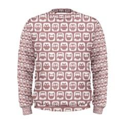 Light Pink And White Owl Pattern Men s Sweatshirts