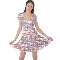 Light Pink And White Owl Pattern Cap Sleeve Dresses
