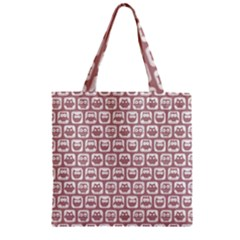Light Pink And White Owl Pattern Zipper Grocery Tote Bags