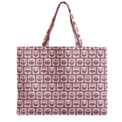 Light Pink And White Owl Pattern Zipper Tiny Tote Bags