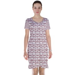Light Pink And White Owl Pattern Short Sleeve Nightdresses