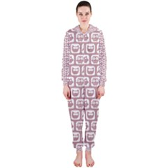 Light Pink And White Owl Pattern Hooded Jumpsuit (Ladies)