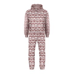 Light Pink And White Owl Pattern Hooded Jumpsuit (Kids)