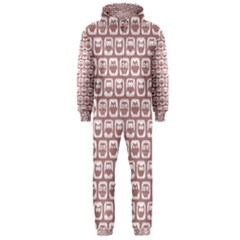 Light Pink And White Owl Pattern Hooded Jumpsuit (Men)