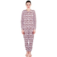 Light Pink And White Owl Pattern OnePiece Jumpsuit (Ladies)