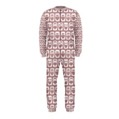 Light Pink And White Owl Pattern OnePiece Jumpsuit (Kids)