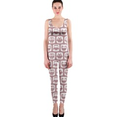 Light Pink And White Owl Pattern OnePiece Catsuits