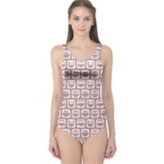 Light Pink And White Owl Pattern Women s One Piece Swimsuits
