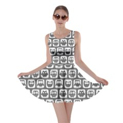 Gray And White Owl Pattern Skater Dresses