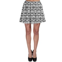 Gray And White Owl Pattern Skater Skirts
