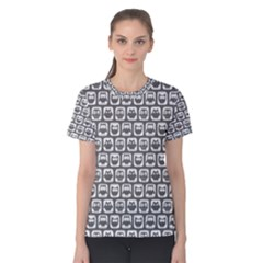 Gray And White Owl Pattern Women s Cotton Tees