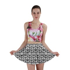 Gray And White Owl Pattern Mini Skirts
