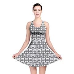 Gray And White Owl Pattern Reversible Skater Dresses