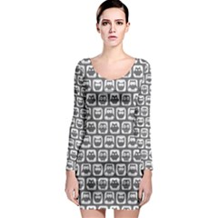 Gray And White Owl Pattern Long Sleeve Bodycon Dresses