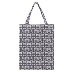 Gray And White Owl Pattern Classic Tote Bags