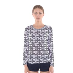 Gray And White Owl Pattern Women s Long Sleeve T-shirts