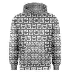Gray And White Owl Pattern Men s Pullover Hoodies