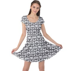 Gray And White Owl Pattern Cap Sleeve Dresses