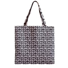 Gray And White Owl Pattern Zipper Grocery Tote Bags