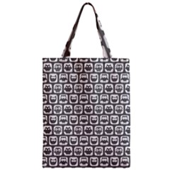 Gray And White Owl Pattern Zipper Classic Tote Bags