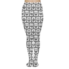 Gray And White Owl Pattern Women s Tights