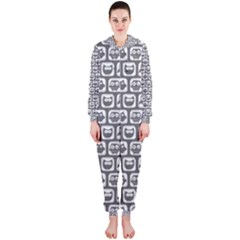 Gray And White Owl Pattern Hooded Jumpsuit (Ladies)
