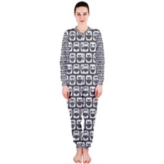 Gray And White Owl Pattern Onepiece Jumpsuit (ladies)