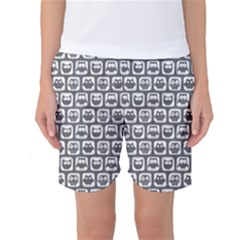 Gray And White Owl Pattern Women s Basketball Shorts