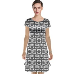 Gray And White Owl Pattern Cap Sleeve Nightdresses