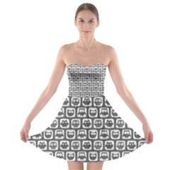 Gray And White Owl Pattern Strapless Bra Top Dress