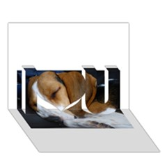 Beagle Sleeping I Love You 3D Greeting Card (7x5)