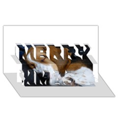 Beagle Sleeping Merry Xmas 3D Greeting Card (8x4)