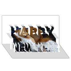 Beagle Sleeping Happy New Year 3D Greeting Card (8x4)