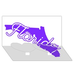 FLorida Home State Pride Twin Heart Bottom 3D Greeting Card (8x4)