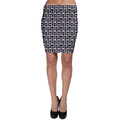 Black And White Owl Pattern Bodycon Skirts