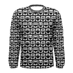 Black And White Owl Pattern Men s Long Sleeve T Shirts