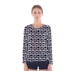Black And White Owl Pattern Women s Long Sleeve T Shirts