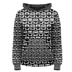 Black And White Owl Pattern Women s Pullover Hoodies