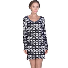Black And White Owl Pattern Long Sleeve Nightdresses