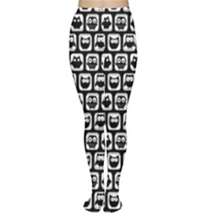 Black And White Owl Pattern Women s Tights