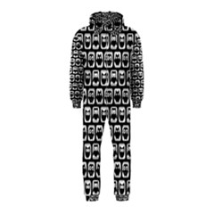Black And White Owl Pattern Hooded Jumpsuit (Kids)
