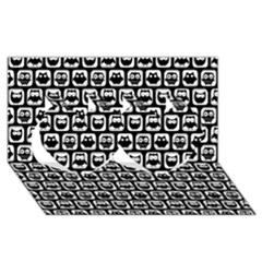 Black And White Owl Pattern Twin Hearts 3D Greeting Card (8x4)