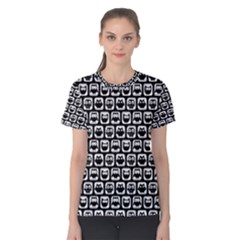 Black And White Owl Pattern Women s Cotton Tees