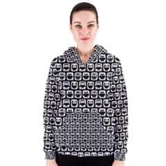 Black And White Owl Pattern Women s Zipper Hoodies