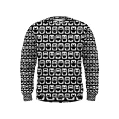 Black And White Owl Pattern Boys  Sweatshirts