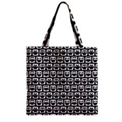 Black And White Owl Pattern Zipper Grocery Tote Bags