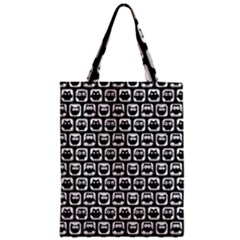 Black And White Owl Pattern Zipper Classic Tote Bags