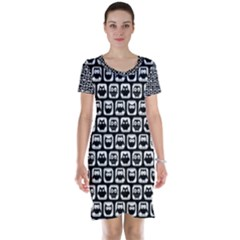 Black And White Owl Pattern Short Sleeve Nightdresses