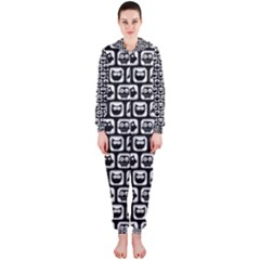 Black And White Owl Pattern Hooded Jumpsuit (ladies)