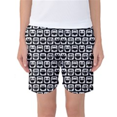 Black And White Owl Pattern Women s Basketball Shorts